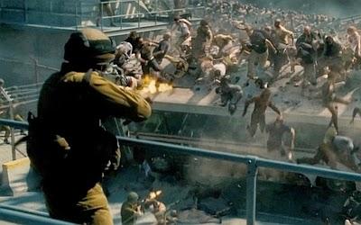 Soldado sionista disparándole a zombies activistas pro palestinos