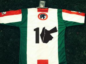 """Camiseta de Club Deportivo Palestino con número """"10"""" utilizando el verdadero mapa de la Palestina Histórica."""