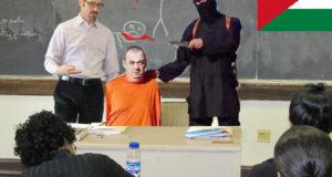 Charlista del Estado Islámico invitado a la Universidad de Gaza para exponer sobre la decapitación y sus ventajas.