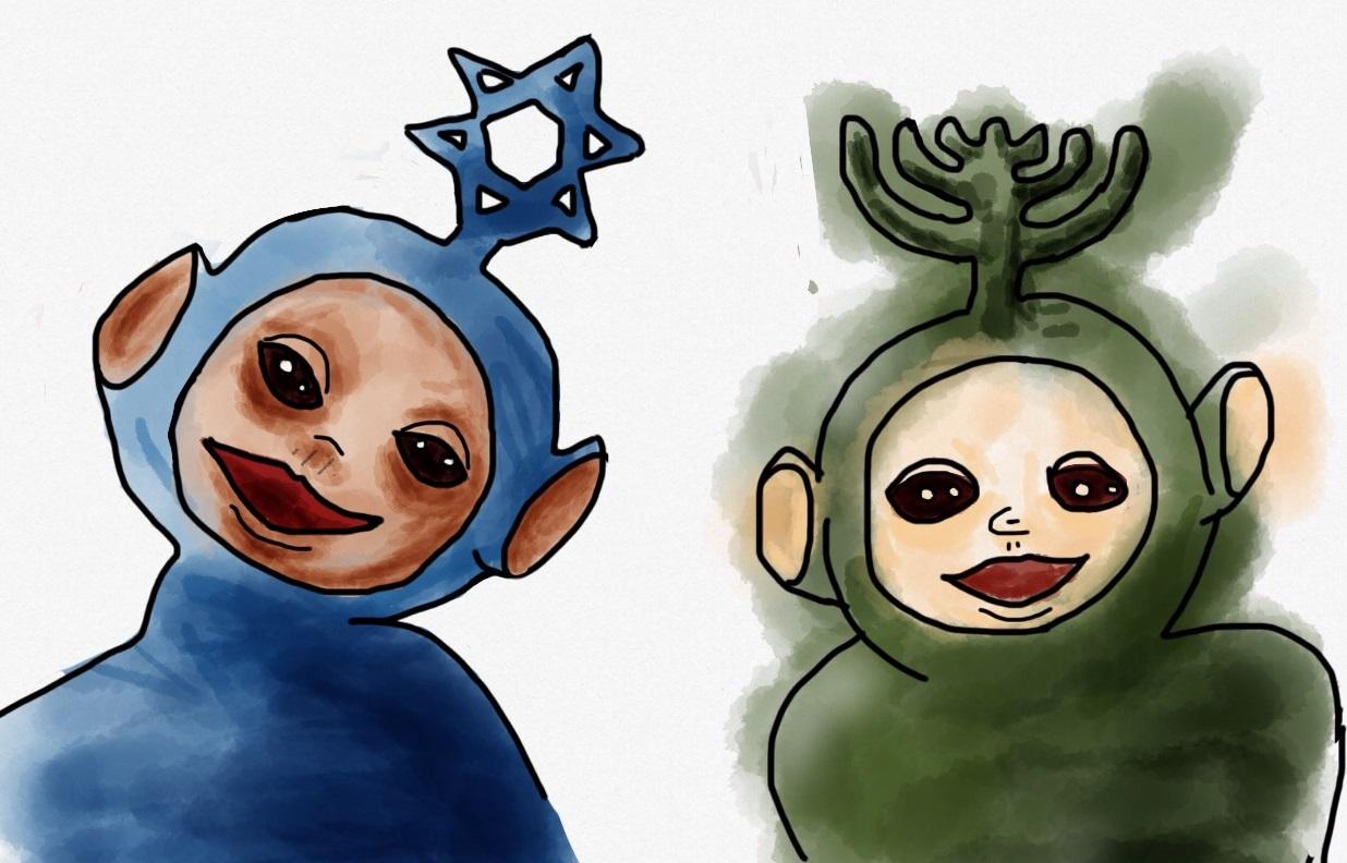 Tinky Winky junto a Dipsy en sus versiones sionistas preliminares