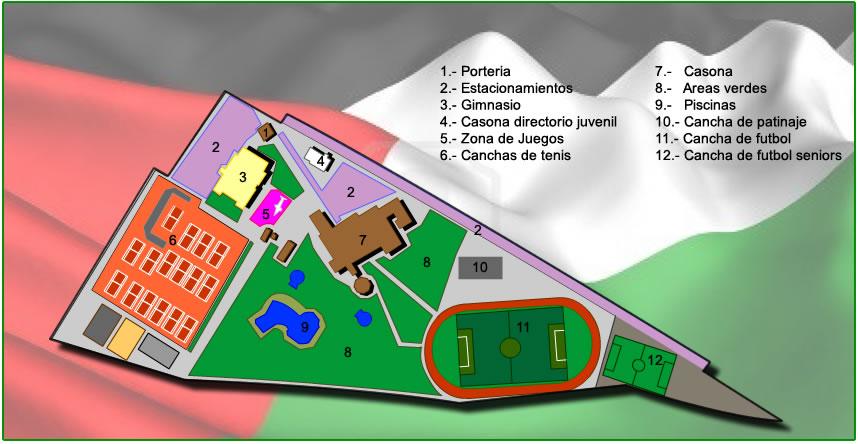 Mapa de Club Palestino en forma de cuchillo